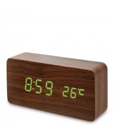 ЯЛ-07-09/ 7 Часы электронные  коричневое дерево с зелёной подсветкой
