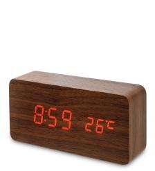 ЯЛ-07-09/13 Часы электронные  коричневое дерево с красной подсветкой