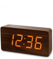 ЯЛ-07-03/10 Часы электронные бол.  коричневое дерево с белой подсветкой