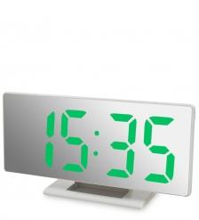 ЯЛ-07-04/4 Часы электронные зеркальные  белое дерево с зелёной подсветкой
