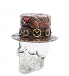 WS-1031 Флакон «Шляпа в стиле Стимпанк на стеклянном черепе»