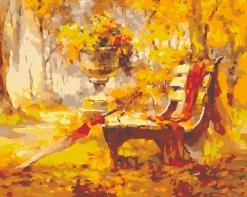 HBK-13 Картина по номерам  Лавочка в осеннем парке   средне