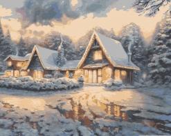 HBK-15 Картина по номерам  Зимний вечер   сложно