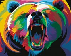 HBK-19 Картина по номерам  Радужный медведь   средне