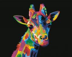 HBK-20 Картина по номерам  Радужный жираф   средне