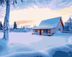 HBK-31 Картина по номерам  Дом зимой   средне