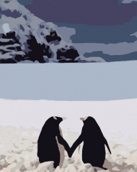 HBK-40 Картина по номерам  Пара пингвинов   средне