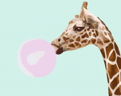 HBK-42 Картина по номерам  Жираф   легко