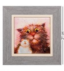 ANG-932 Панно керамическое  Кошки-мышки  10х10