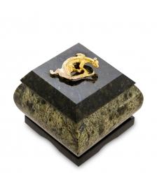 NST-03 Шкатулка  Золотой геккон   змеевик
