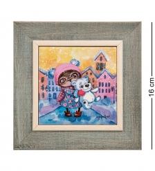 SZ-432 Панно керамическое «Снежный город» 10х10