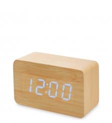 ЯЛ-07-05/ 9 Часы электронные сред.  жёлтое дерево с синей подсветкой