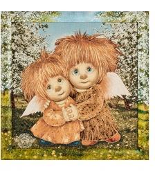 ANG-1035 Гобелен в расписной раме «Ангелы единения» 45х45