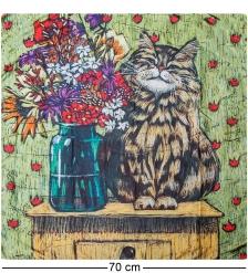 ANG-1040 Шелковый платок  Букет для любимой мамы   Н. Леоновой