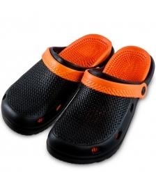 MSG-10/01-M Массажные тапочки черно-оранжевые