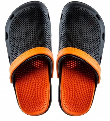 MSG-10/01-S Массажные тапочки черно-оранжевые