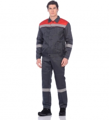 ЯЛ-02-96 Костюм куртка/полукомб. р.48-50, рост 182-188, серый/красный