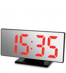 ЯЛ-07-04/5 Часы электронные зеркальные  черное дерево с красной подсветкой