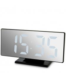 ЯЛ-07-04/6 Часы электронные зеркальные  черное дерево с белой подсветкой