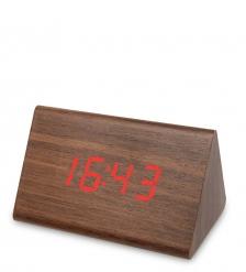 ЯЛ-07-07/7 Часы электронные треуг.сред.  коричневое дерево с красной подсветкой