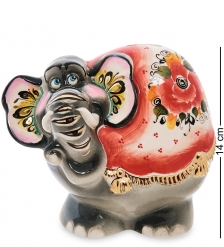 ГЛ-666 Фигурка  Слон  цв. Золото  Гжельский фарфор