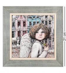 ANG-1445 Панно керамическое «Ангел удачи» 15х15
