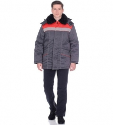 ЯЛ-02-18 Куртка зимняя, р.56-58, рост 182-188 т.серый/красный