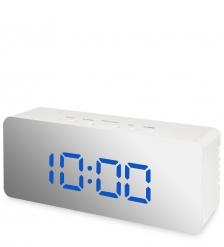 ЯЛ-07-23/2 Часы электронные мал. зеркальные  белые с синим циферблатом