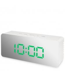 ЯЛ-07-23/3 Часы электронные мал. зеркальные  белые с зеленым циферблатом