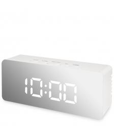 ЯЛ-07-23/7 Часы электронные мал. зеркальные  белые с белым циферблатом