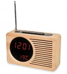 ЯЛ-07-24/1 Радио-часы   жёлтое дерево с красной подсветкой