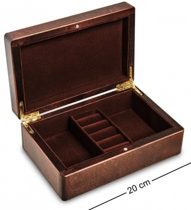 JW-03/01 Шкатулка деревянная под украшения «Махагон» 20х13 см