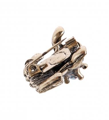 AM-2304 Фигурка-брошь кошельковая  Гоню долги.Ловлю рубли   латунь