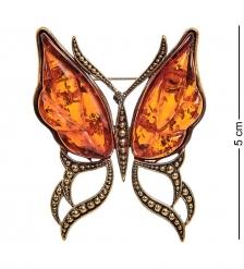 AM-2314 Брошь «Бабочка Ветерок»  латунь, янтарь