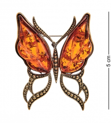AM-2314 Брошь  Бабочка Ветерок   латунь, янтарь