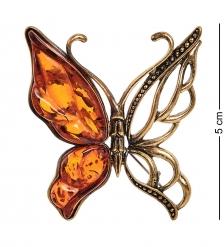AM-2315 Брошь «Бабочка Лимонка»  латунь, янтарь
