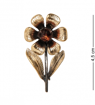 AM-2316 Брошь «Василек»  латунь, янтарь