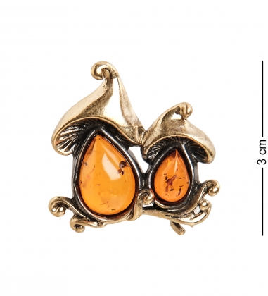 AM-2321 Брошь  Грибочки   латунь, янтарь