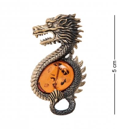 AM-2324 Брошь  Дракон   латунь, янтарь