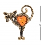 AM-2337 Брошь Кот Сердце  латунь, янтарь