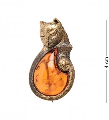 AM-2338 Брошь  Кот Сновидения   латунь, янтарь