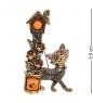 AM-2339 Брошь  Кот со Скворцом   латунь, янтарь