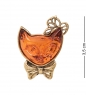 AM-2342 Брошь  Кошка Кити   латунь, янтарь