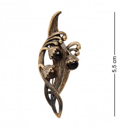 AM-2344 Брошь  Ландыш   латунь, янтарь