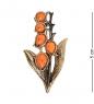 AM-2346 Брошь  Ландыш Лесной   латунь, янтарь