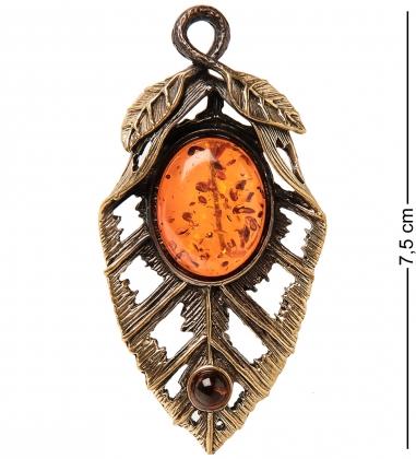 AM-2351 Брошь  Лист Папоротника   латунь, янтарь