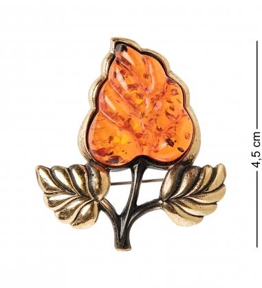 AM-2354 Брошь  Листик Сирени   латунь, янтарь
