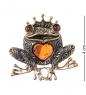 AM-2358 Брошь  Лягушка Царевн   латунь, янтарь