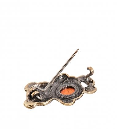 AM-2362 Брошь  Мишка   латунь, янтарь