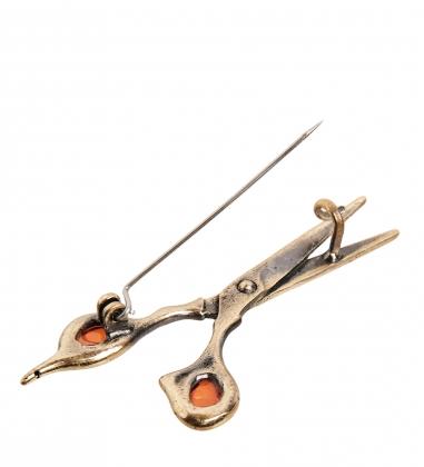 AM-2371 Брошь  Ножницы   латунь, янтарь